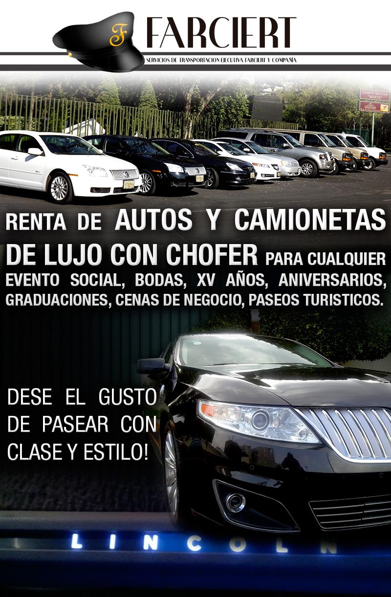 renta de autos y camionetas de lujo con chofer para cualquier evento social, pasea con clase y estilo, sedanes de lujo, camionetas con pantalla, servicio a toda la republica mexicana