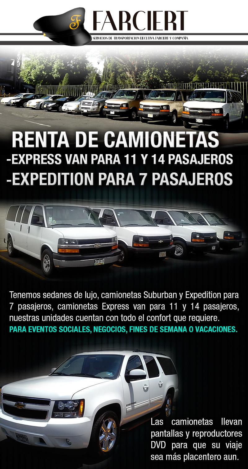 renta de camionetas express van y camionetas expedition, negocios, fines de semana, unidades con aire acondicionado, monitores y reproductores dvd
